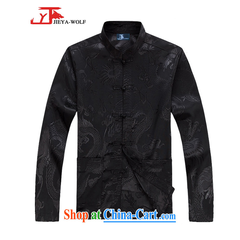 Jack And Jacob - Wolf JIEYA - WOLF 2015 Kit Tang with men's long-sleeved spring men's Chinese style solid color spring sauna, silk black a 185/XXL