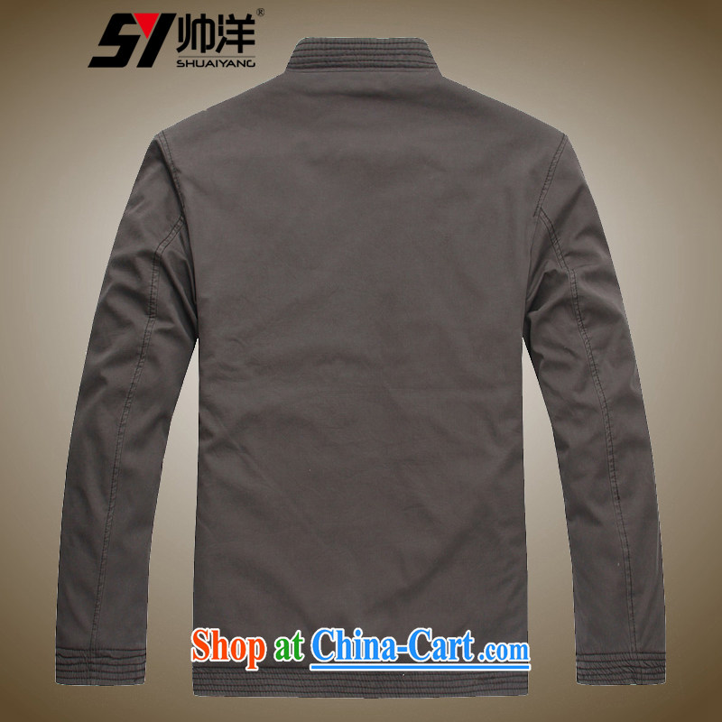 cool ocean new winter clothing thick men's Tang with quilted coat jacket, older, for men's cotton suit Chinese father with national costumes, the elders have a face dark khaki-colored 170, cool ocean (SHUAIYANG), online shopping