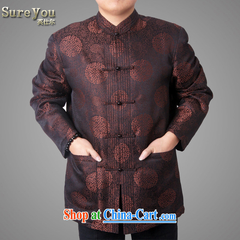 sureyou older people in men's long-sleeved winter Tang with the cotton thick China wind casual jacket national costumes, 14,016 brown 195