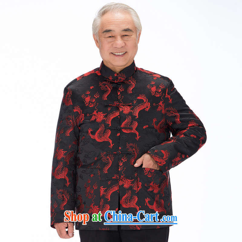 1211 F Chinese clothing men's autumn and winter load Tang Lung Long-Sleeve hand-tie Chinese improved cultural Chinese cotton suit black, Autumn XXXL/190