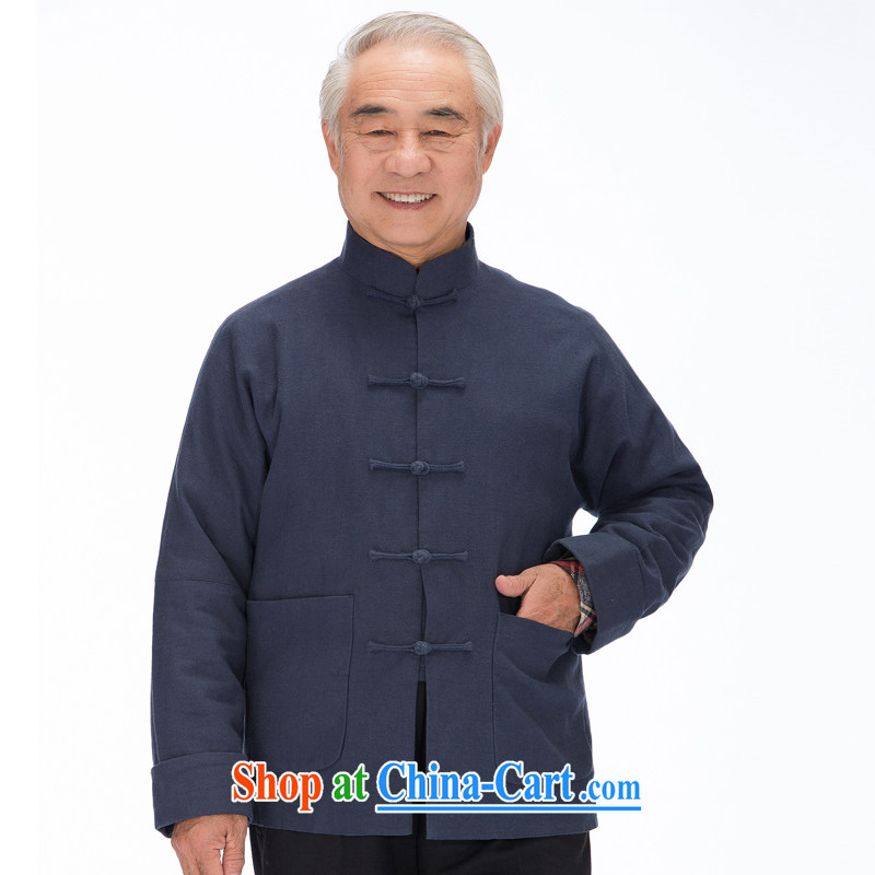 1320 F linen, the snap-chinese traditional Chinese the shoulder-sleeve male national costumes and stylish lounge and blue XXXL_190
