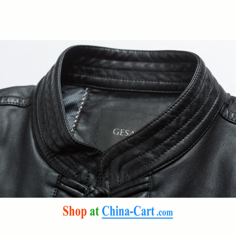 D - 818 - 1 National wind load of the collar high quality thick leather jacket and a leather Chinese Chinese, for Chinese PU jacket black 4XL/195, and mobile phone line (gesaxing), and, on-line shopping