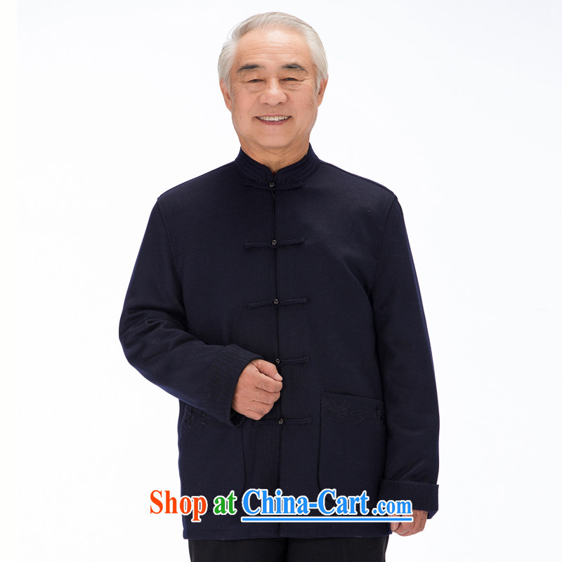 FD - 14,015 fall/winter older upscale men and a solid color Tang jackets wool blend old clothing, collar, serving deep blue 4 XL/195