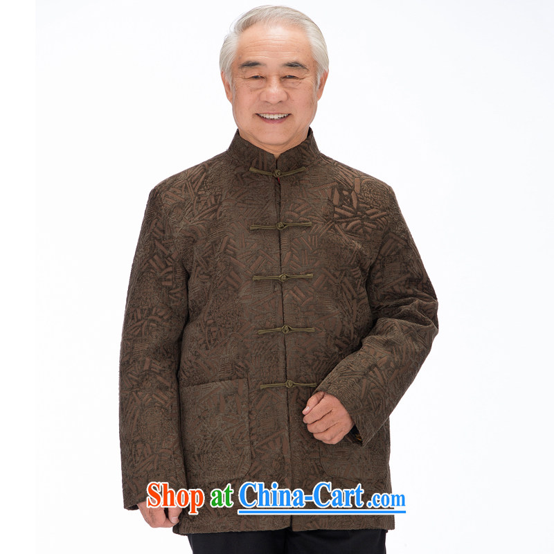F 1455 middle-aged and older Chinese autumn and winter clothes and jacket Dad loaded cotton Chinese, for long-sleeved T-shirt hand-tie green coffee-colored XXXL/190