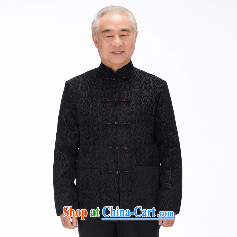 735 F fall/winter middle-aged and older Chinese men and fathers with high standard of Chinese Ethnic Wind long-sleeved Tang jackets Chinese package mail black arm cuff XXXL/190