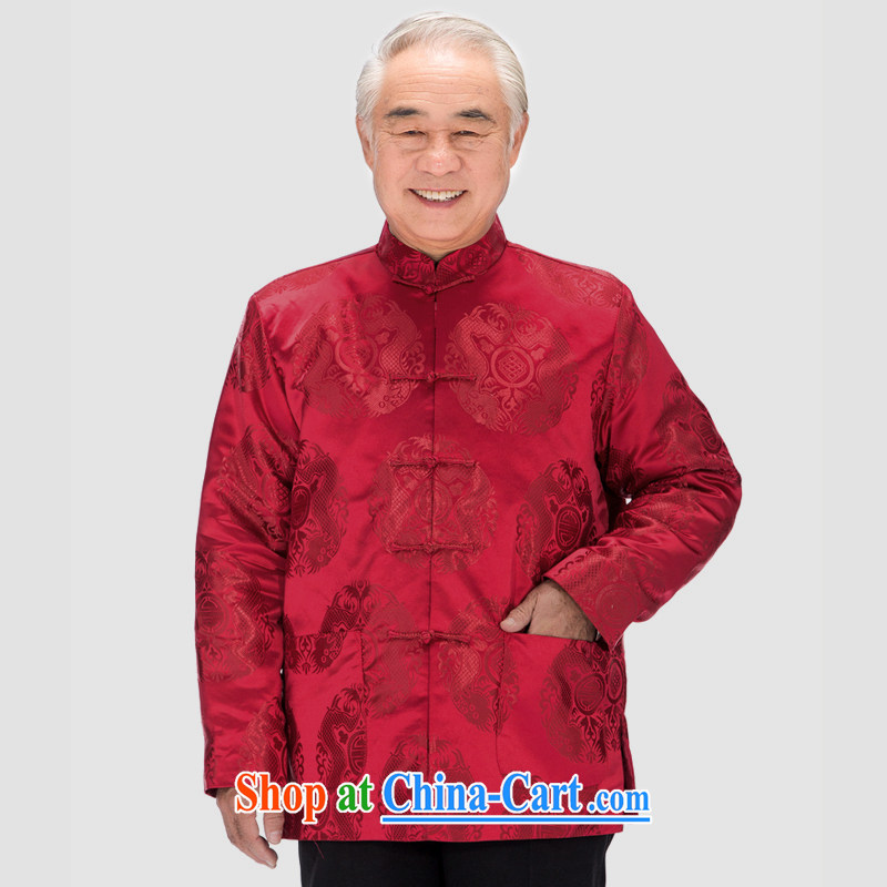 F In 0758 elderly Chinese men quilted coat jacket double-lung men Chinese Winter load cotton clothing celebrating Birthday Gifts red XXXL_190