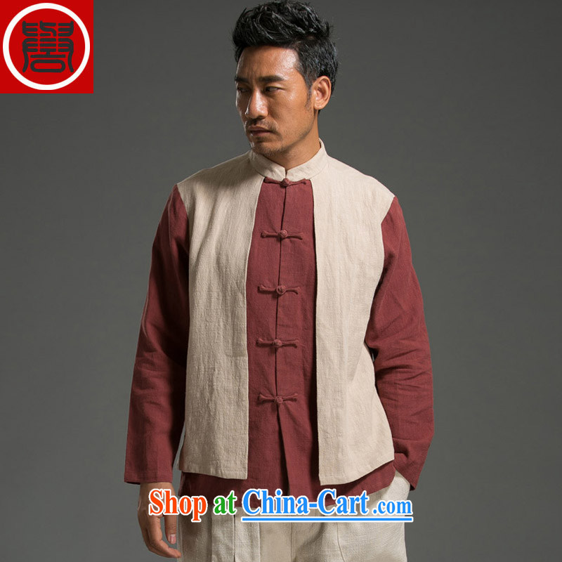 Internationally renowned original China wind leave of two in cultivating men long-sleeved T-shirt with autumn flax spell color-charge-back the collar T-shirt red and white jumbo _2_ XL