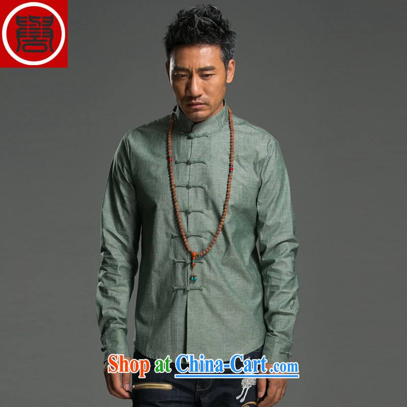 Internationally renowned 2015 China wind spring men's Chinese cotton Ma Sau San disk for China, for solid color linen shirt improved Chinese green _L_