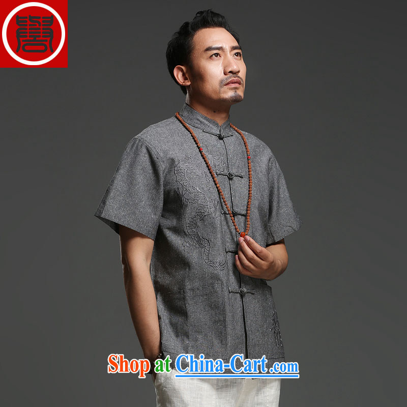 Internationally renowned Chinese men's short-sleeved cotton Ma 2014 New Dragon Chinese summer breathable T-shirt, national costumes of dark gray (185)