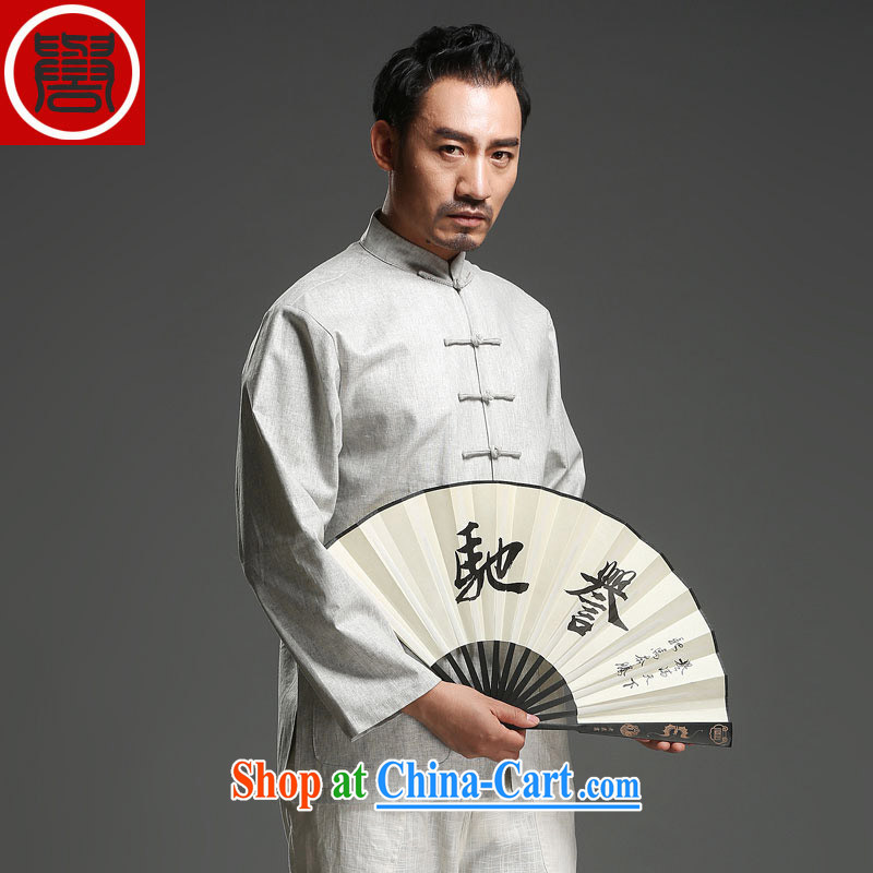 Internationally renowned New China Chinese long-sleeved men's spring loaded Tang replace men and long-sleeved-buckle Tang mounted units the jacket Light Gray Movement _3_ XL