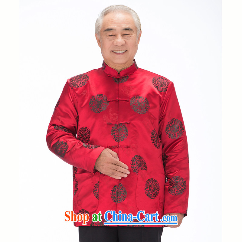 F 0861 middle-aged and older Chinese men and women taxi couples Chinese T-shirt autumn and winter, the elderly have been married life long-sleeved jacket men wine red men XXXL/190