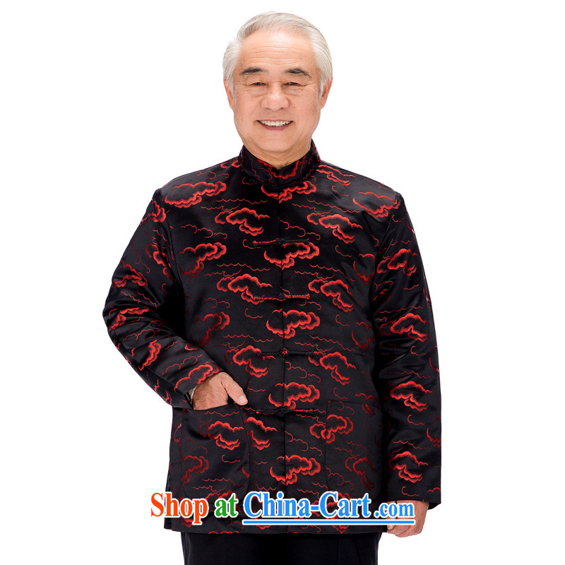 F 0790 autumn and winter in older Chinese men's long-sleeved the cotton elderly men and women have life happy couples with Xiangyun men Black men XXXL_190