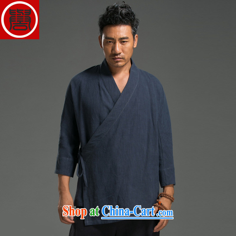 Internationally renowned Chinese wind men's casual linen V collar 7 cuff Han-blue jacket are code