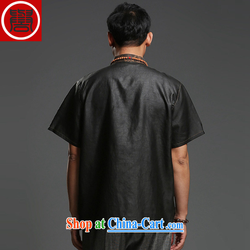 Internationally renowned Father's Day men's Chinese silk fragrant cloud yarn men's short-sleeved T-shirt Chinese male, for summer black-185, internationally renowned (CHIYU), shopping on the Internet