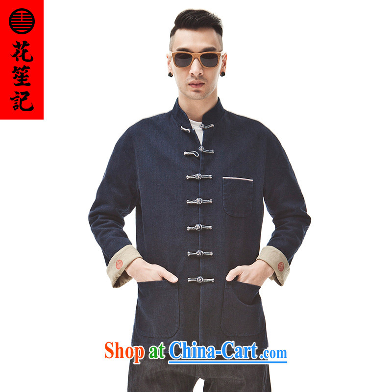 His Excellency took the wind that Ding cattle heavy deficit ear tannin cowboy Tang decoration, Chinese T-shirt trend jacket dark blue _XXL_