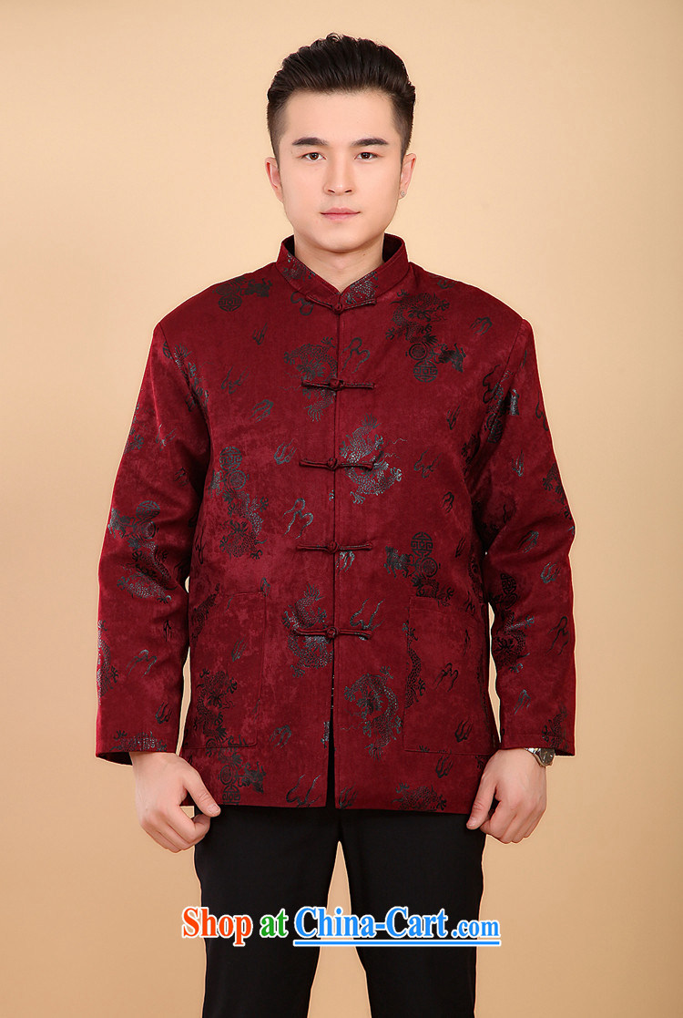 The people more than the 2014 autumn and winter clothing men Tang with long-sleeved T-shirt, elderly Chinese men and national costumes China wind men's jackets suede Dragon red XXXL pictures, price, brand platters! Elections are good character, the national distribution, so why buy now enjoy more preferential! Health