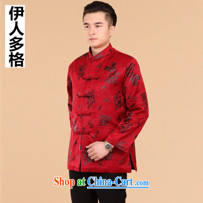 The people more than the 2014 autumn and winter clothing men's Tang with long-sleeved T-shirt middle-aged and older Chinese men and national costumes China wind men's jackets suede Dragon red XXXL