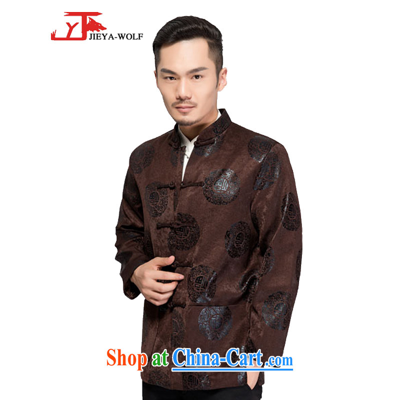 Jack And Jacob - Wolf JIEYA - WOLF new Chinese men's long-sleeved spring and autumn and winter clothes T-shirt jacket men's T-shirt men's stylish jacket, dark coffee-colored quilted 165/S