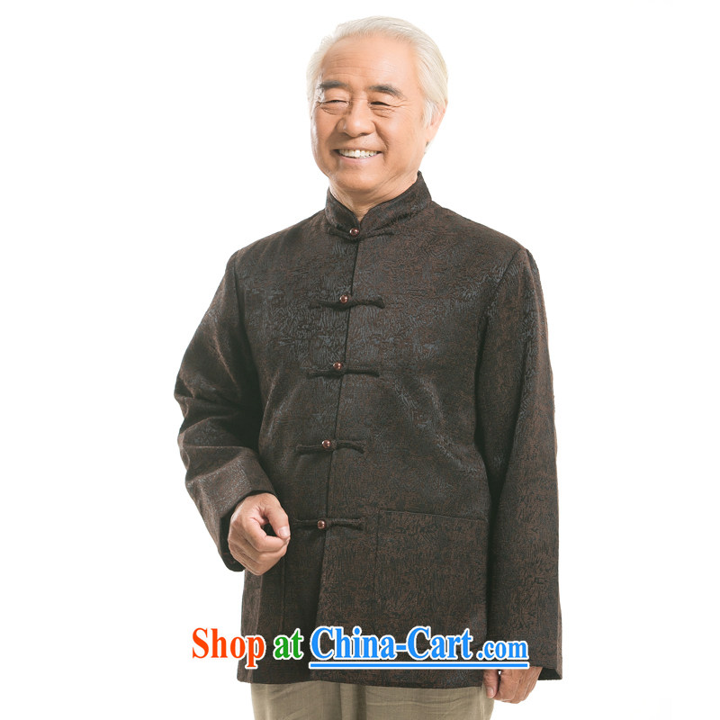 Middle-aged and older men's long-sleeved Tang jackets national costumes, Chinese collar Tang replace the father's grandfather new thick long-sleeved Tang jackets brown XXXL/190