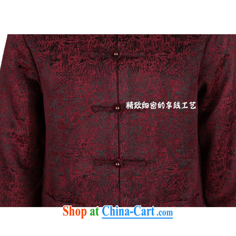 Middle-aged and older men's long-sleeved Tang jackets national costumes, Chinese collar tang on the father's grandfather new thick long-sleeved Tang jackets brown XXXL/190, and mobile phone line (gesaxing), on-line shopping
