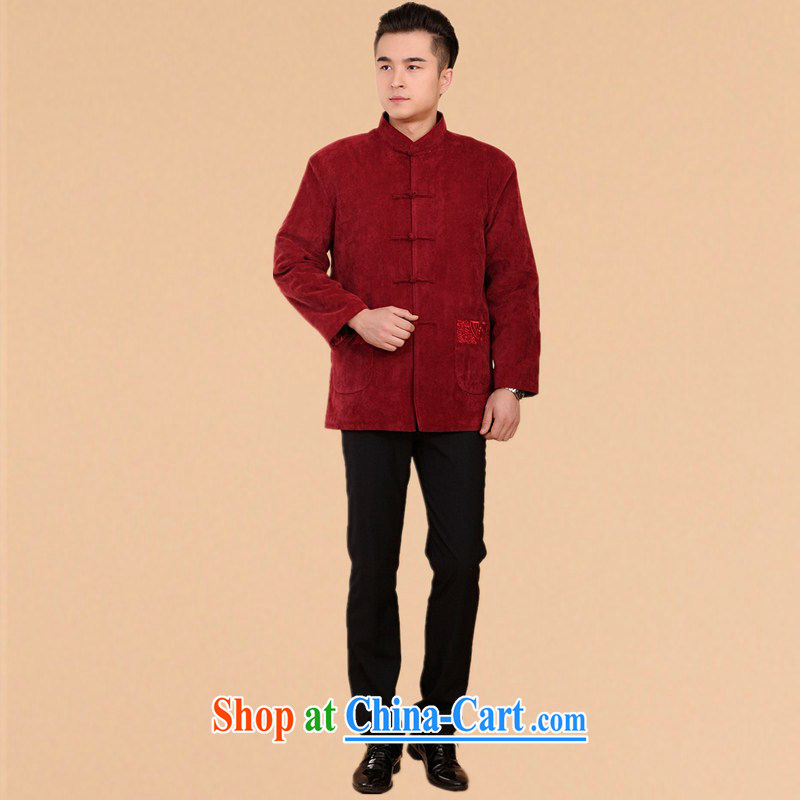 The people more than the fall and winter thick Chinese men and his father, the older men and Tang with the cotton old life clothing Chinese quilted coat jacket red XXXL