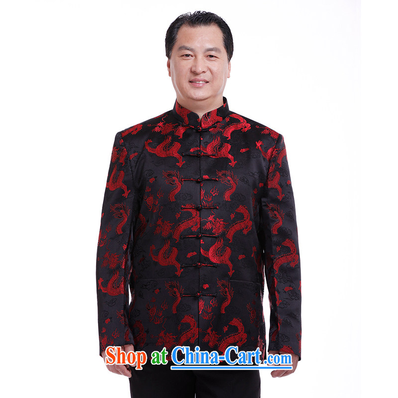 South of Nsongnian in male Chinese T-shirt jacket fall and winter Chinese T-shirt, old fashion ethnic replace 6031 large Dragon Tang Black - Spring and Autumn and the number is the recommended maximum number