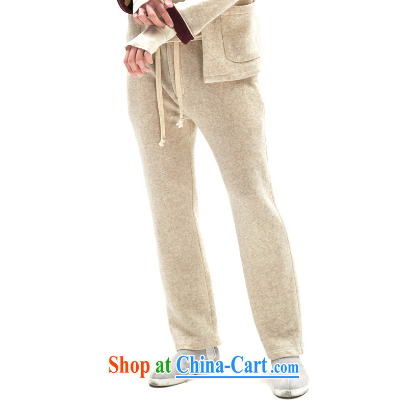Fujing Qipai Tang winter new male and retro pants Chinese Wind and lint-free cloth knitted pants cotton the trousers Elasticated waist movement Tang pants Warm relaxed straight legged pants white XL