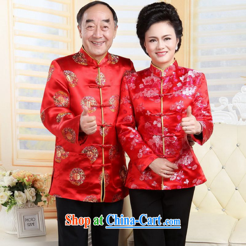 He Jing Ge older Chinese couples with the leading Chinese wind dress the Life wedding clothes red men XXL