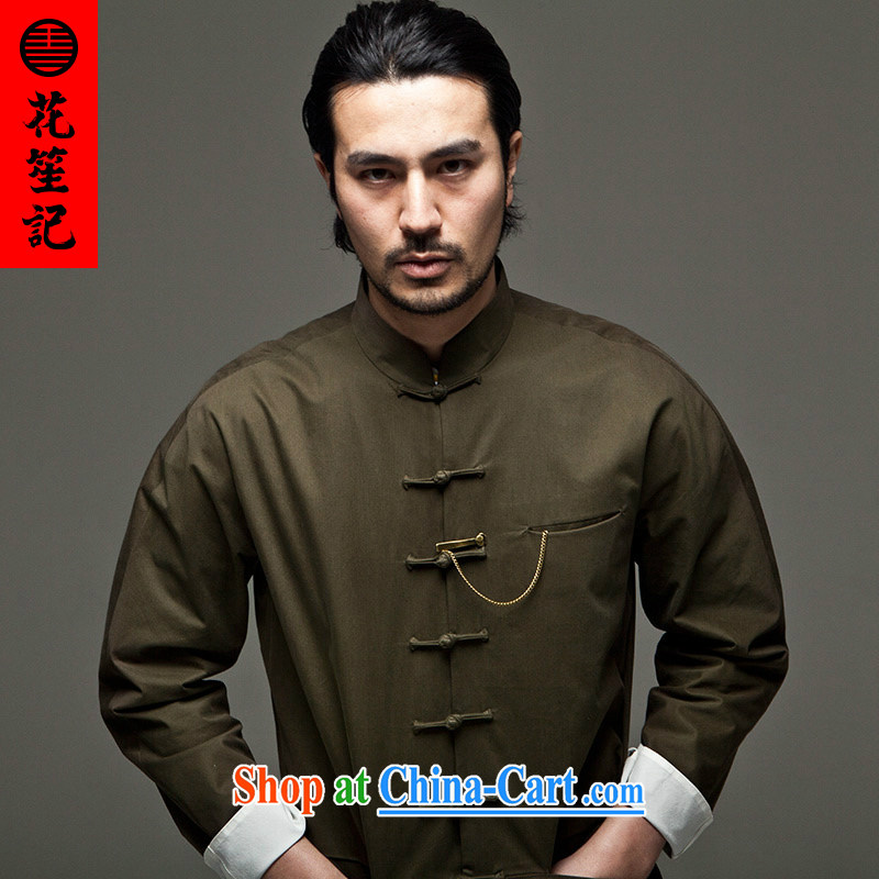 His Excellency took the Wind Flower Hotel Chinese men and are decorated in a collar long-sleeved Chinese jacket is withholding national summer army Green - take a class _L_