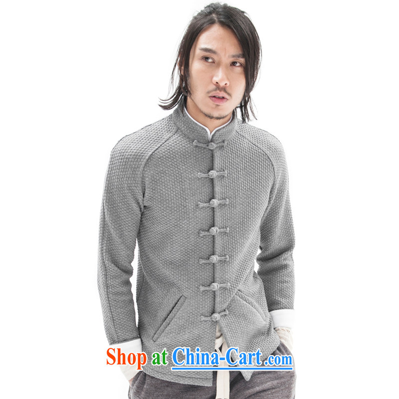 Fujing Qipai Tang China wind original woolen knitted jackets and stylish Sau San Tong jackets Chinese improved plug-in-Pull sleeveless ethnic-tie retro high-end men's dark gray L