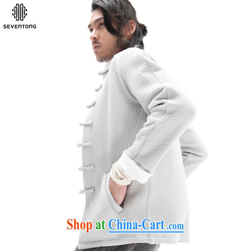 Fujing Qipai Tang China wind original woolen knitted jacket stylish and Sau San Tong jackets Chinese improved plug-in-Pull sleeveless ethnic-tie retro high-end men's dark gray L, Fujing Qipai Tang (Design seventang), online shopping