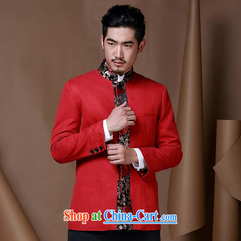 Riding a leopard, China wind men Tang jackets men and youth Chinese Han-T-shirt dress fall and winter new dress red XXXL