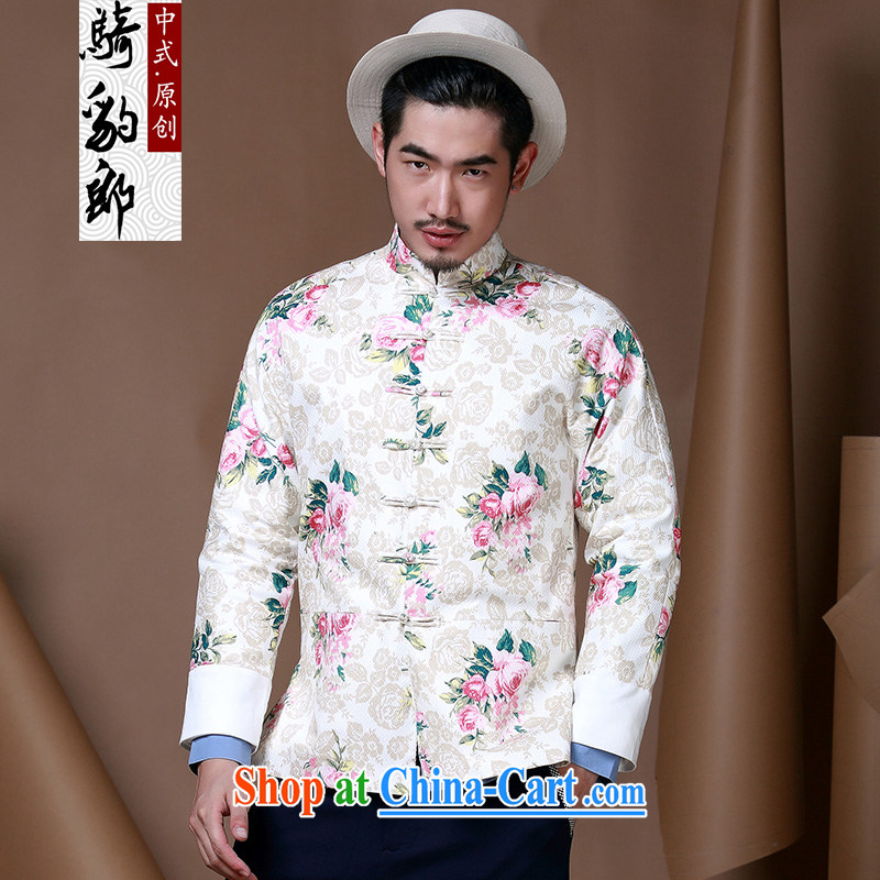 Riding a leopard, China wind men's floral Chinese men and youth Chinese state to serve jacket men's autumn and winter-load service men and white XXXL