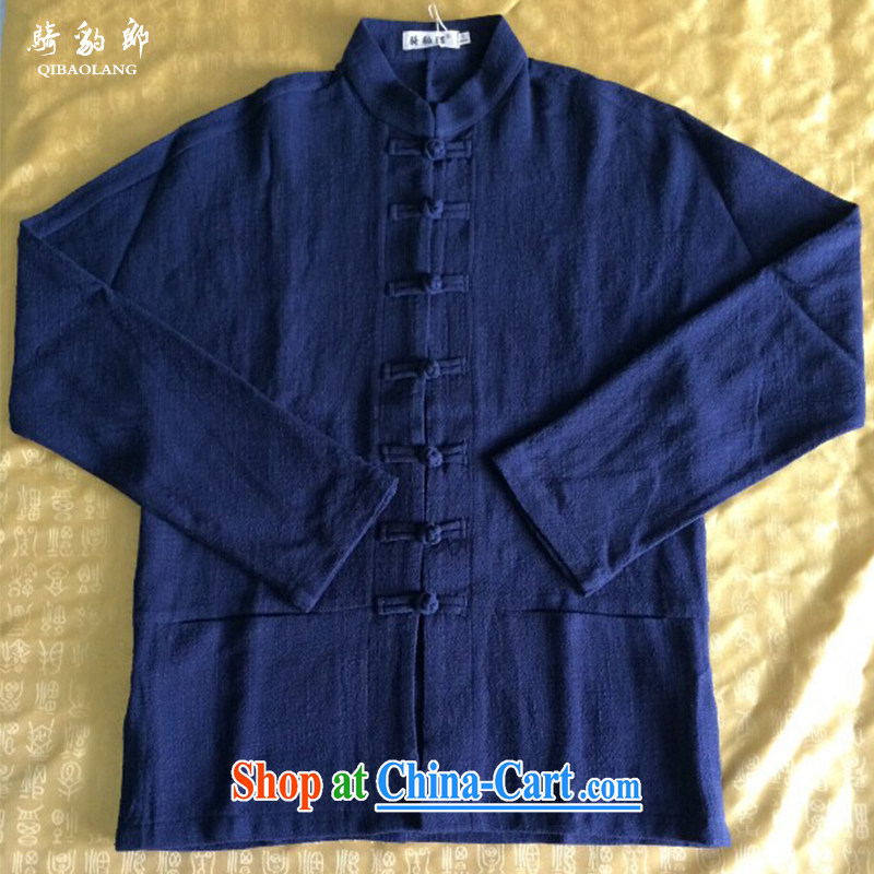 Riding a leopard jacket, men's smock China wind Tang with autumn and winter long-sleeved T-shirt Chinese, for cultivating leisure cotton Ma men's dark blue XXXL