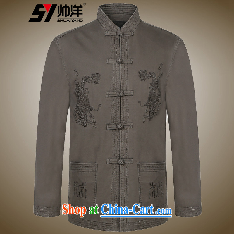 cool ocean 2015 New Men's Tang jackets long-sleeved T-shirt, for China's spring and autumn wind jacket, older ethnic costumes Chinese, for men's dark khaki 175