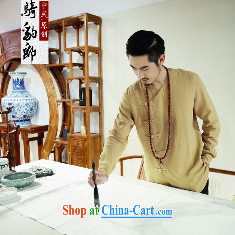 Riding a leopard, summer 2015 New China wind cotton shirt the men's casual long-sleeved Chinese Chinese Han-man and the yellow XL