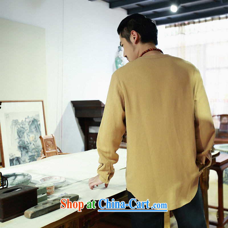 Riding a leopard, summer 2015 New China wind cotton shirt the men's casual long-sleeved Chinese Chinese Han-man and the yellow XL, riding a leopard health (QIBAOLANG), online shopping