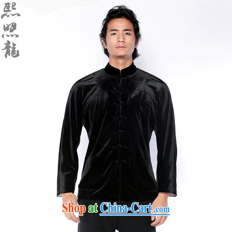 Hee-snapshot Dragon 2015 new autumn and the Chinese men's velvet jacket, and Chinese ethnic wind fashion clothing black XL pictures, price, brand platters! Elections are good character, the national distribution, so why buy now enjoy more preferential! Health