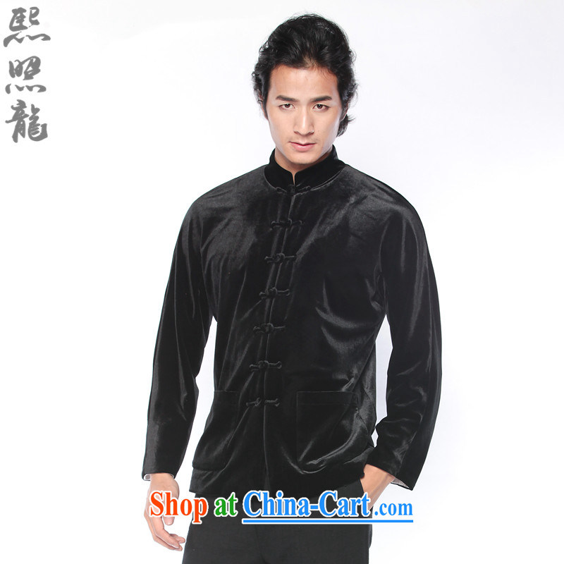 Mr Chau Tak-hay snapshot Dragon 2015 new autumn the Chinese men's velvet jacket, and Chinese ethnic wind fashion clothing black XL, Hee-snapshot lung (XZAOLONG), online shopping