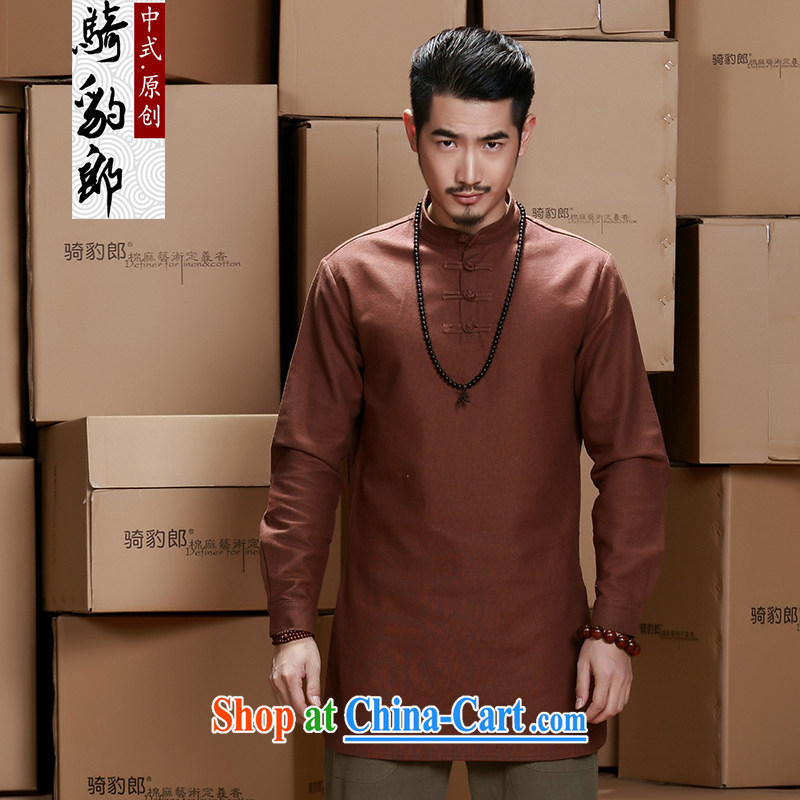China wind men's long-sleeved shirt T 2015 new units the long T-shirt men's large, Tang jackets maroon XXXL