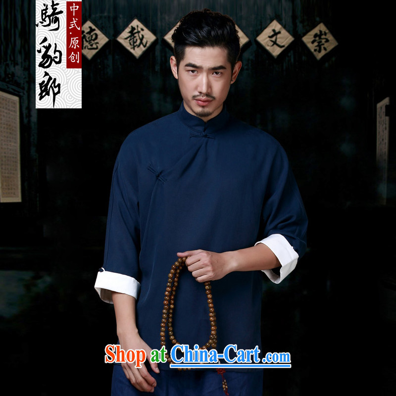 2015 spring loaded China wind improved Han-Chinese men is tight cotton the cynosure serving men Chinese men's jackets dark blue XXXL