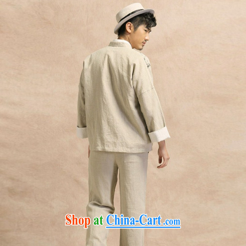 China wind Tang with long-sleeved linen shirt jacket men's leisure Chinese Han-yau Ma tei cotton hand-painted T-shirt smock light card its XXXL, riding a Leopard (QIBAOLANG), online shopping