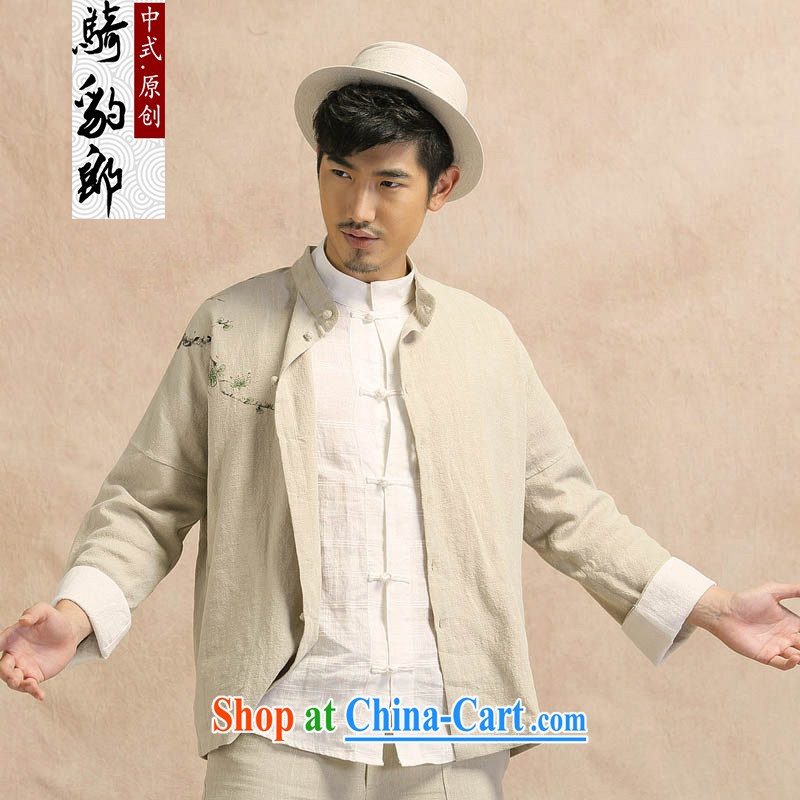China wind Tang with long-sleeved linen shirt jacket men's leisure Chinese Han-yau Ma tei cotton hand-painted T-shirt smock light card its XXXL