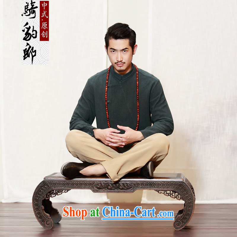 Summer 2015 New China wind men's linen shirt men's Long-Sleeve Chinese Zen is hard, served the army green XXXL