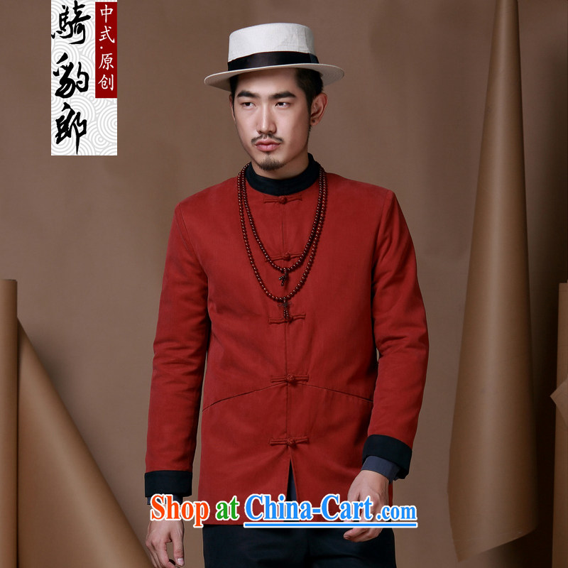 China wind men Chinese men's jackets men's autumn and winter, Chinese, for long-sleeved improved Han-smock and deep red XXXL