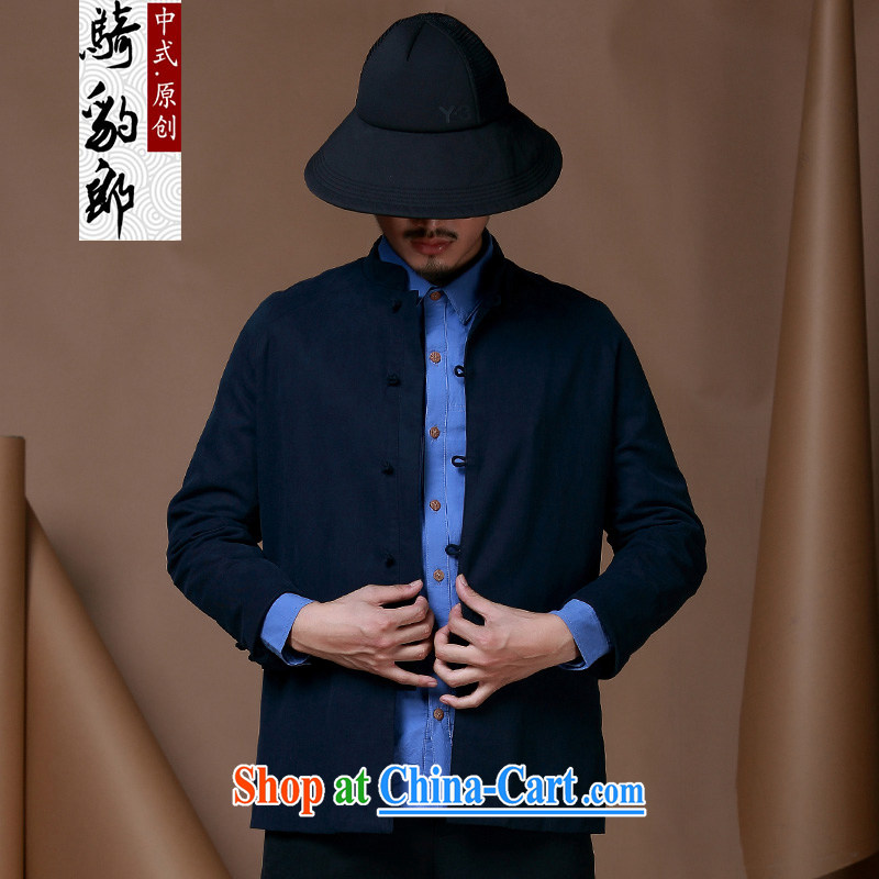 Generalissimo young men, for casual jacket new long-sleeved-tie Chinese male Chinese wind cotton Ma Tang with dark blue XXXL