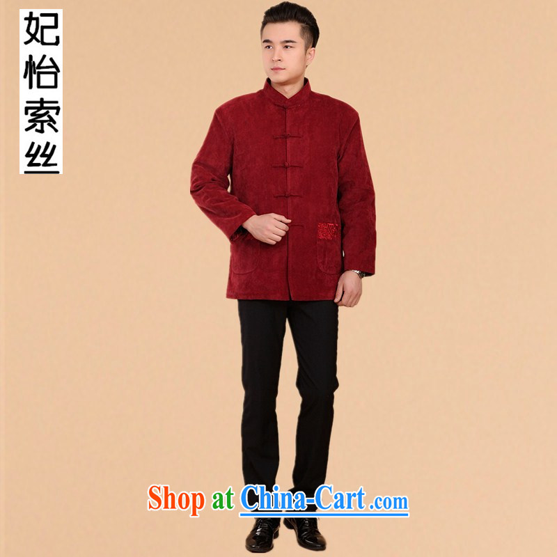 Princess Selina CHOW in 2014 autumn and winter clothing men's Chinese long-sleeved T-shirt, elderly Chinese men and national costumes China wind men's jacket 2059 red XXXL
