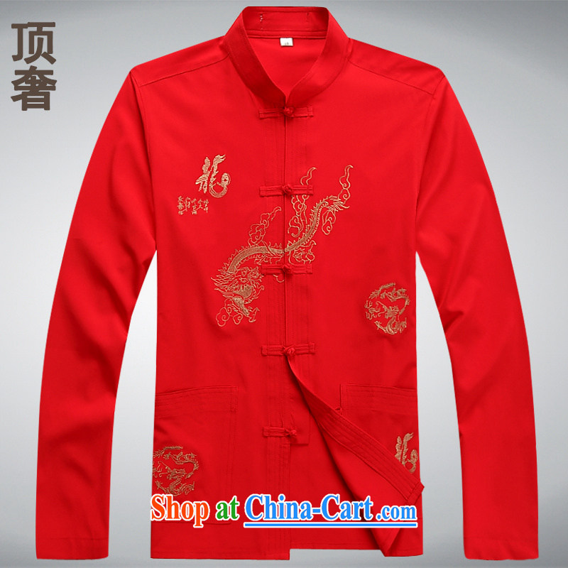 Top luxury Chinese men's long-sleeved thin men's jackets 2014 new hands-free ironing shirt white long-sleeved Tang replace the collar men Tang red, M_165