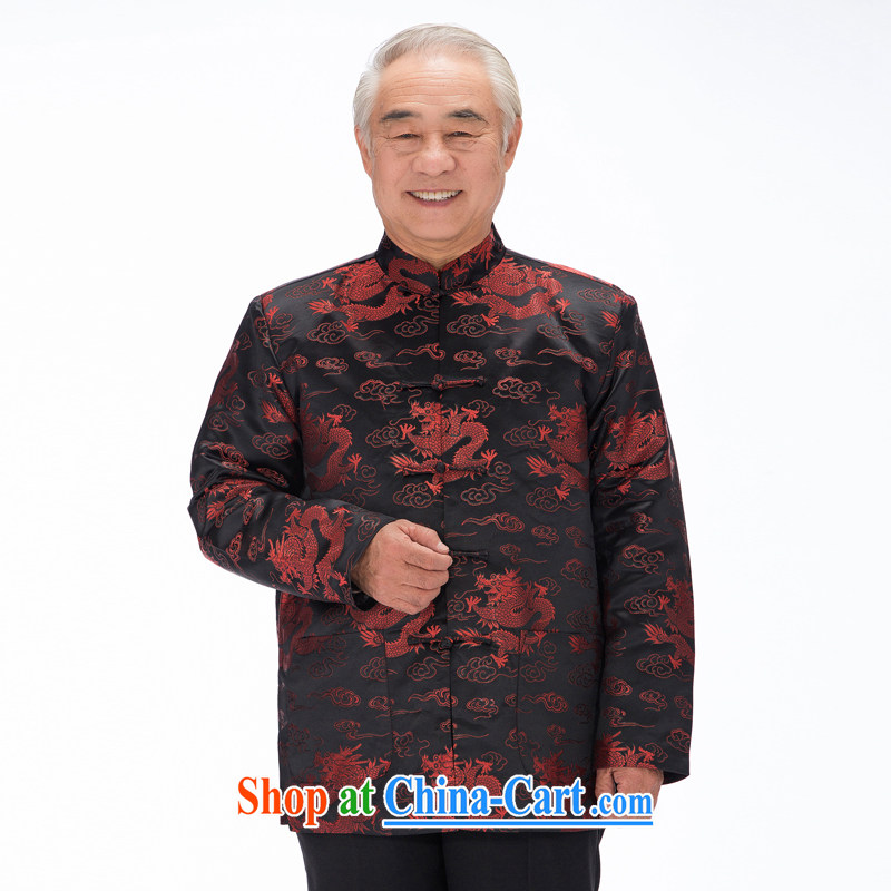 0789 F this life, in particular recommended that older people fall and winter thick Chinese Chinese dragon quilted coat jacket men's father is black red dragon XXL_185