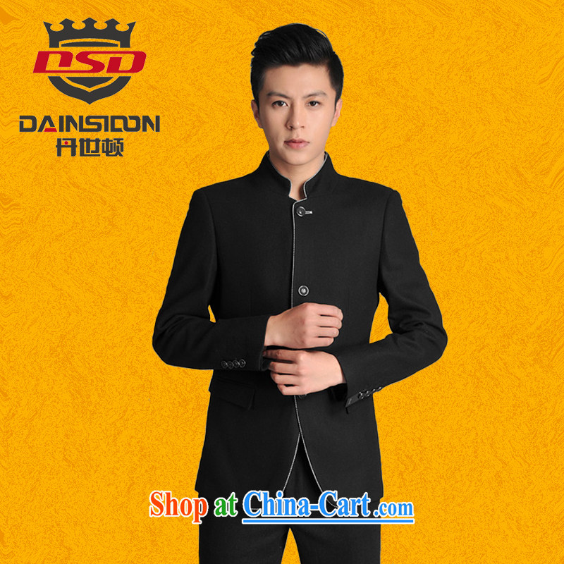 Bin Laden's _DAINSIDON_ Men's Chinese and smock for ethnic Chinese students with youth with the groom's wedding dress smock Kit black rims Sun Yat-sen suit XXXL